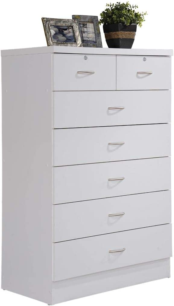 3. Hodedah white solid dresser with lock drawers.
