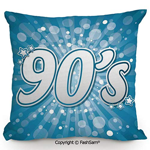 FashSam Home Super Soft Throw Pillow 90s Letter and Stars on Striped Background with Circles Party Celebration Themed Artwork for Sofa Couch or Bed(16