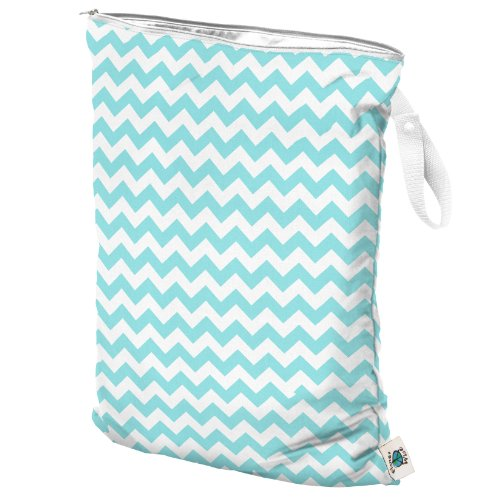 Planet Wise Wet Bag, Large, Teal Chevron (Made in the USA)