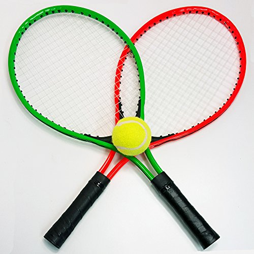 4 tlg. Tennis SET für Kinder und Jugendliche , 2 Tennis Schläger, 1 Tennis Ball, 1 Tasche, Beach Strand Garten Ball Spiel
