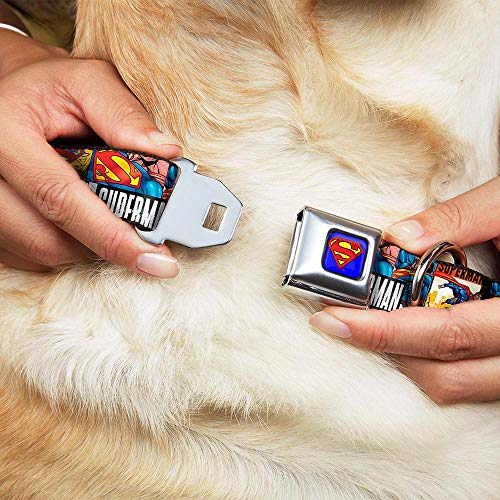 Picture of Buckle-Down Seatbelt Buckle Dog Collar - SUPERMAN Action Blocks White - 1
