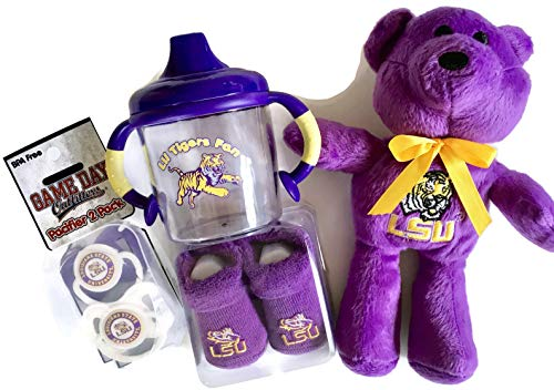 (LSU Tigers Baby Booties Purple Beanie Bear Set BPA-Free No-Spill Sippy Cup 2 Pacifiers NCAA Infant Socks)