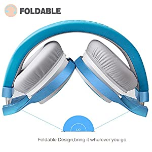 Headphones, Riwbox IN5 Foldable Headphones with Microphone and Volume Control Stereo Folding Headset Strong Low Bass for iPhone iPad Smartphones Laptop Mp3/4 (Blue Grey)