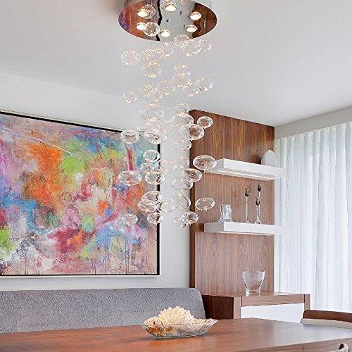 7PM W19.7' x H39' Contemporary Luxury LED Round Clear Due Bubble Glass Drop Chandelier Pendant Lamp Lighting Fixture