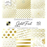 American Crafts 15,2 x 15,2 cm Oro Foil 40 Hojas Die Cuts with a View Mat Stacks, 15,2 x 15,2 cm