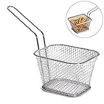 HOKUGA: 4Pcs/lot Chips Mini Fry Baskets Stainless Steel Fryer Basket Strainer Serving Food Presentation Cooking Tool French Fries Basket