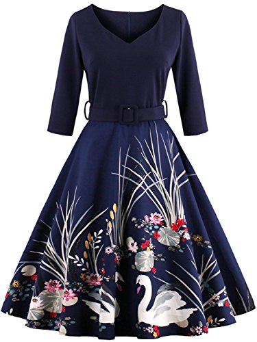 Short Vintage Wedding Guest Dresses for Women Special Occasion,Navy Blue,S