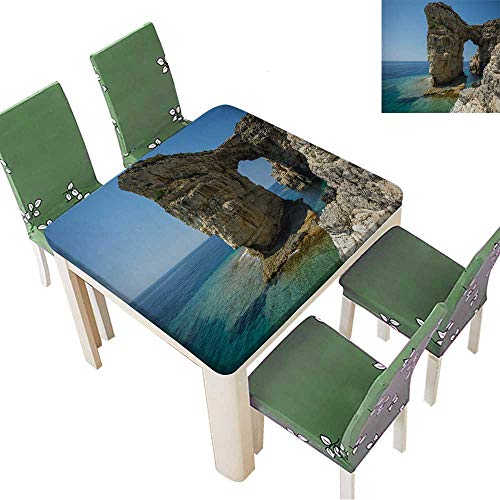 Printsonne Natural Tablecloth Image of Unique and Scenic Arch in The Cliffs,Paxi,Greece for Home Use, Machine Washable 50 x 50 Inch (Elastic Edge)
