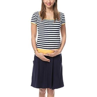 Vestido Embarazo y Lactancia Camisón Premama Manga Corta Ropa ...