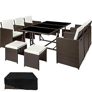 TecTake Set di mobili da giardino poli rattan arredamento set   6 Sedie + 1 Tavolo + 4 Sgabelli   Involucro protettivo… 8 spesavip
