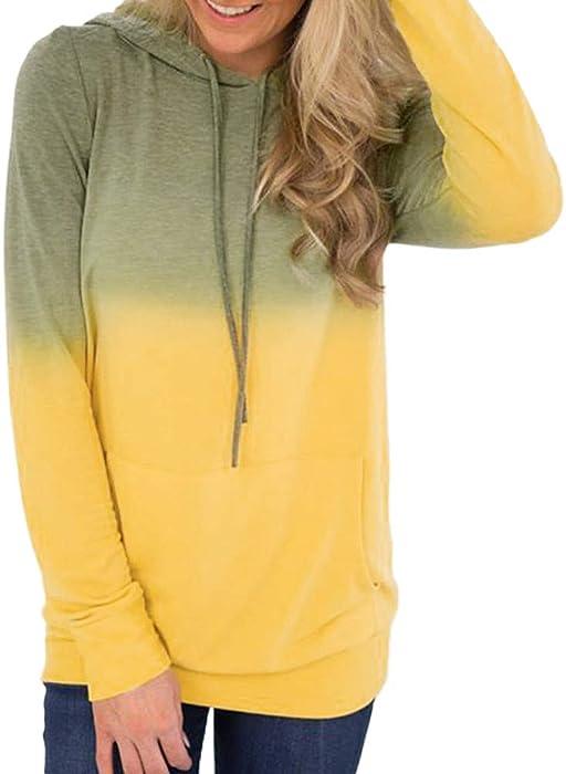 Bestow Mujeres Impresas con Cordones de Bolsillo suéter de Las Mujeres de Manga Larga con Capucha Sudadera Pullover Camisa Tops Blusa