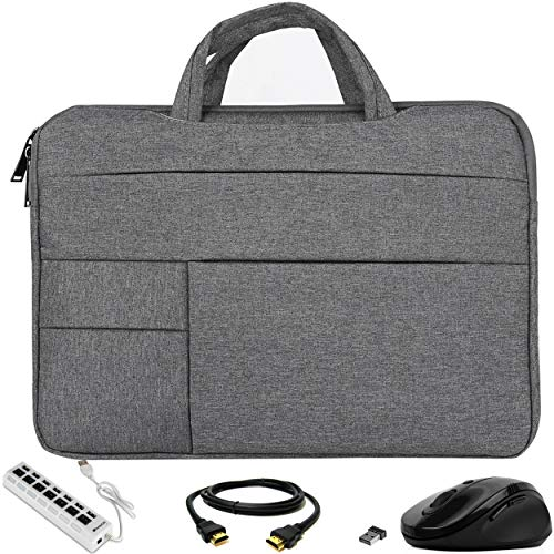 VG Bags Ultra-Slim Grey 14-inch Laptop Sleeve Bag with USB Hub, Mouse, and HDMI Cable for Asus AsusPro, ChromeBook, E403, E406, VivoBook, ZenBook - Grey Usb 14
