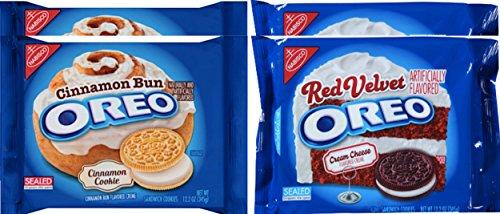 Nabisco Oreos Cinnamon Bun & Oreos Red Velvet Sandwich Cookies 12.2 Oz (4) ()