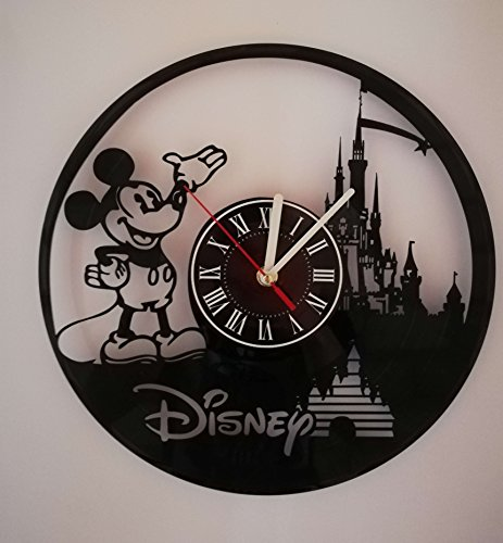 Disney Wall Clocks - Walt Disney Mickey Mouse Handmade Vinyl Record Wall Clock - Get unique home room wall decor - Gift ideas for parents, teens - Epic Movie Unique Modern Art ...