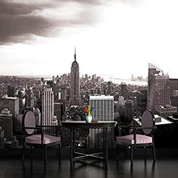new york city skyline black and white wallpaper mural