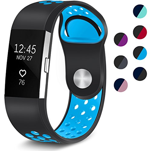 Maledan Replacement Sport Bands with Air Holes Compatible for Fitbit Charge 2, Black/Blue, Large
