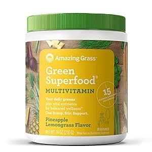 Amazing Grass Green Superfood Multivitamin: Super Greens Powder with 15 Vitamins & Minerals, Pineapple Lemongrass, 30 Servings