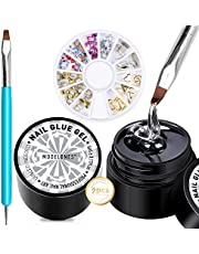 Nail Art Glue On Nails, Modelones 2PCS Rhinestone Glue (2*5ml) with Dual-Use Nail Art Brush, Nail Gems Rhinestones Diamonds Jewelry Wheel for Nails, Adhesive Resin Nail Art Supplies Tool Kit
