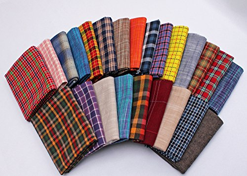 10 Fat Quarters - Assorted Homespun Yarn Dyes Rustic Woven Plaid Checks Quality Quilters Cotton Fabric Bundle M226.13 (Woven Fat Quarters)