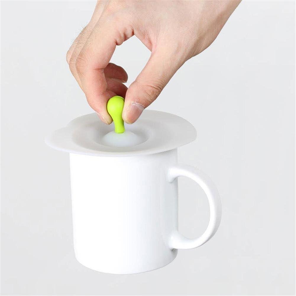 taglia unica 5PCS silicone Cup coperchi anti-goccia tazza copertura antipolvere in silicone alimentare drink Covers aspirazione coperchi con cucchiaio Holder Red