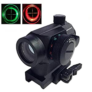 Tactical Reflex Red Green Dot Sight Scope Riflescope Optic Quick Detach Riser Mount Release Lens Covers Rail Mount Holographic Hunting Spotting