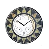 About Time Slate Effect Patterned Outdoor Garden Clock with Thermometer - 30cm (11¾') - by