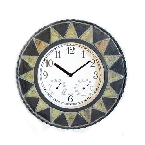 About Time Slate Effect Patterned Outdoor Garden Clock with Thermometer - 30cm (11¾