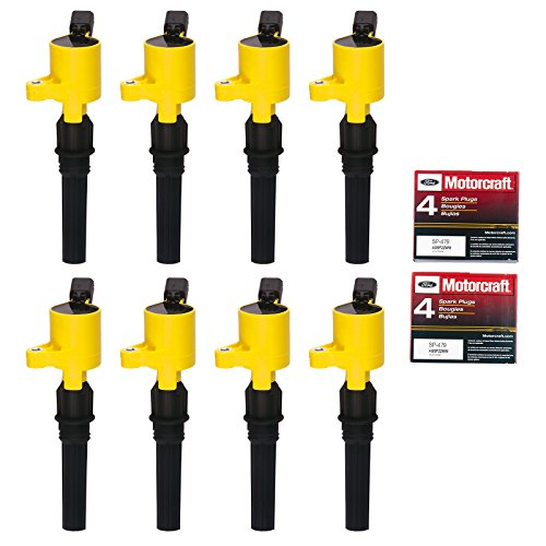 8 Ignition Coil DG508 & 8 Motorcraft Spark Plug SP479 for Ford 4.6L 5.4L V8 DG457 DG472 DG491 CROWN VICTORIA EXPEDITION F-150 F-250 MUSTANG LINCOLN MERCURY
