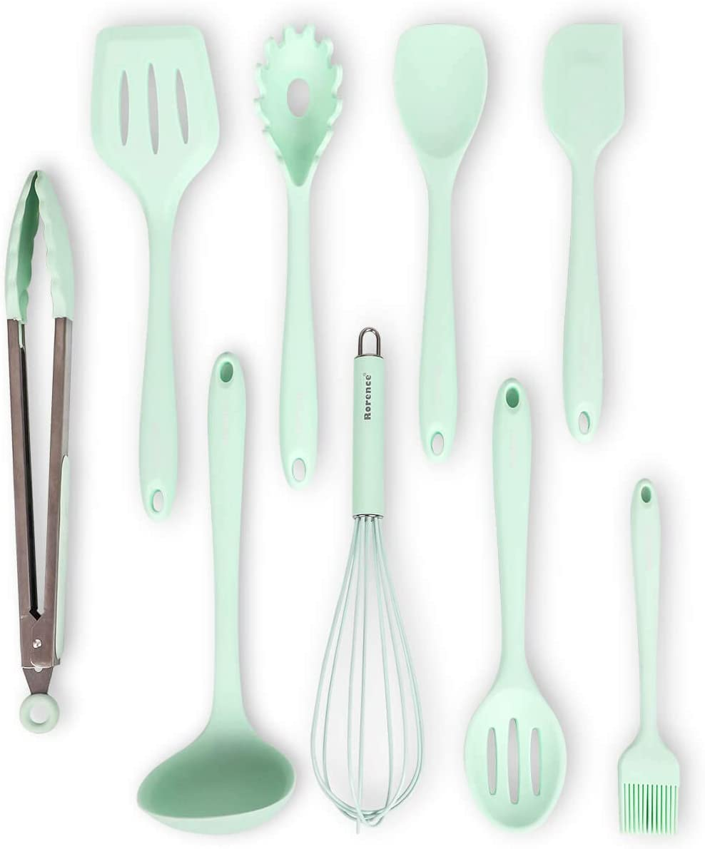 Rorence 9 Pieces Silicone Cooking Kitchen Utensil Set - Mint Green