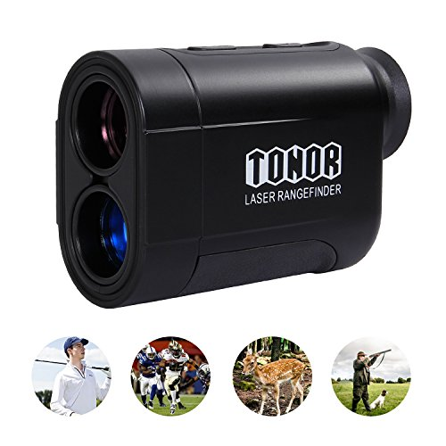 TONOR Golf Laser Rangefinder/Range Finder with Pinsensor/Binoculars, Water Resistant/Free Battery for Hunting Outdoor Activities 650 Yard, Black by TONOR