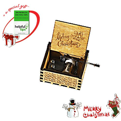 Christmas Gifts |Delightful Engraved Vintage Wooden Music Box With Funny Rhythms Of Xmas| Christmas card enclosed|Perfect Gift For Christmas|New Year|Santa Claus|Noel (Merry (Vintage Santa Claus Doll)