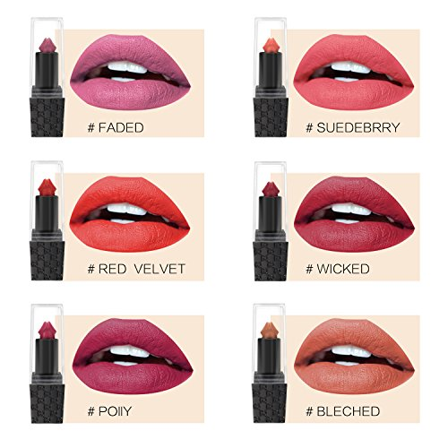 6 Colors/Set Sexy Mushroom Lipstick Waterproof Matte Long Lasting