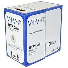 New Full Copper 1,000 ft bulk Cat6 Ethernet Cable / Wire UTP Pull Box 1,000ft Cat-6 Grey ~ VIVO