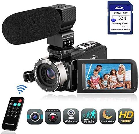 Camcorder Videokamera Digitalkamera-Recorder mit 3,0 Zoll LCD 270 Grad HD 1080P 20MP 18X-Digitalzoom