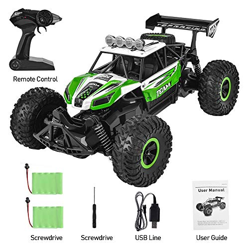 Flyglobal Fast Remote Control Car, 1:16 High Speed RC Cars for Boys Powerful Car Remote Control with 2 Rechargeable Batteries, Off Road RC Trucks Crawler All Terrain Dune Buggy Car for Kids Adults