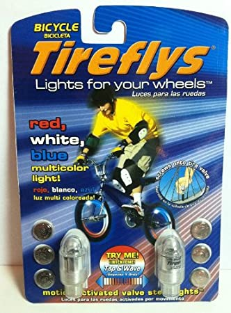 Green Set of 2 Tireflys Motion Activated Bicycle Valve Stem Lights
