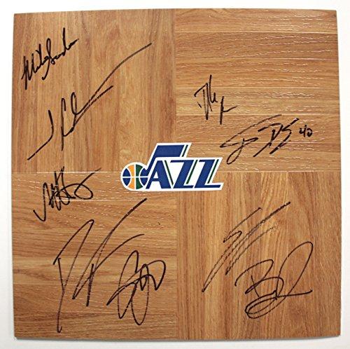 Utah Jazz 2013-14 Team Autographed Signed Basketball Floorboard (Floor Signed Team)