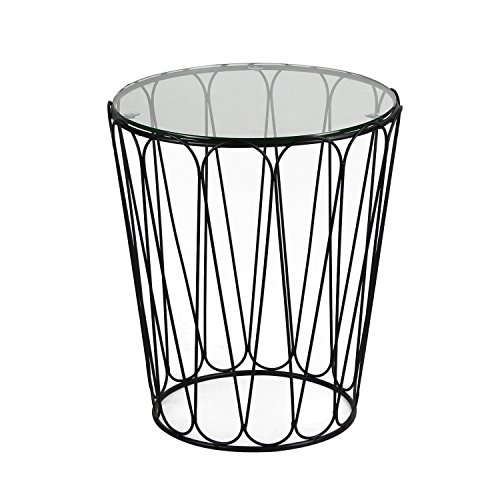 patio glass side table homebeez metal structure outdoor end table green ankles gardening. Black Bedroom Furniture Sets. Home Design Ideas