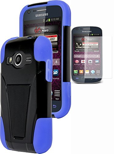 Galaxy Ring Phone Case, Bastex Heavy Duty Hybrid Soft Royal Blue Silicone Cover Hard Black Kickstand (T-Stand) Case for Samsung Galaxy Ring M840INCLUDES SCREEN PROTECTOR