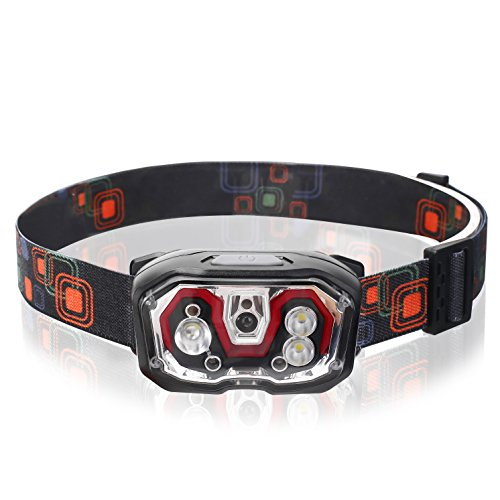 Headlamp Flashlight 300 Lumens 5 Lighting Modes LED Induction Bright Head lamp with USB Rechargeable,for Outdoor Camping Adventure