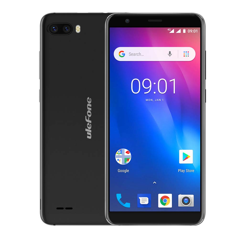 Gallity Ulefone S1 4G Smartphone Pro Mobile Phone 5.5 inch 18:9 MTK6739 Quad Core 1GB RAM 16GB ROM 13MP+5MP Face Unlock Android 8.1 (Black)