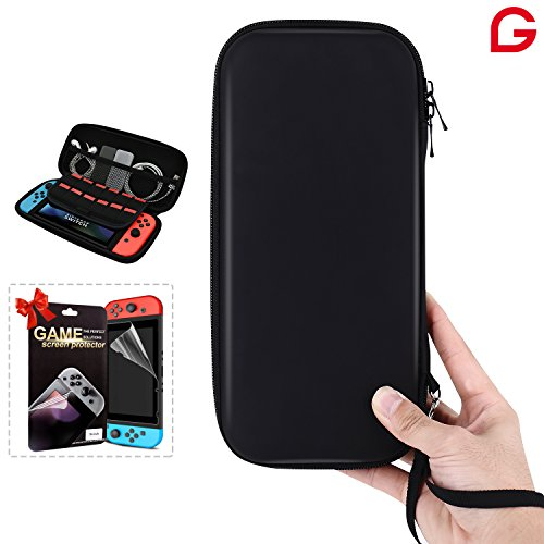 Nintendo Switch Case GLTECK Hard Shell Best Travel Carrying Case for Nintendo Switch Console & Accessories with Screen Protector for Nintendo Switch