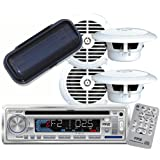 """Pyle - AM/FM-MPX IN -Dash Marine CD/MP3 Player/USB & SD Card Function + (2)6-1/2"""" Dual Cone Waterproof Stereo Speaker System + PLMRCW1 White Water Resistant Radio Shield."""