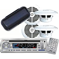 Pyle - AM/FM-MPX IN -Dash Marine CD/MP3 Player/USB & SD Card Function + (2)6-1/2 Dual Cone Waterproof Stereo Speaker System + PLMRCW1 White Water Resistant Radio Shield.