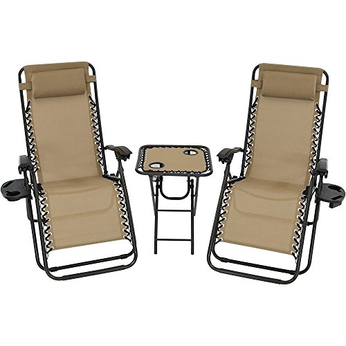 Sunnydaze Outdoor Zero Gravity Lounge Chairs Set of 2 with Patio Table, Cupholders and Pillows Included, Khaki (1 2 Lounge)