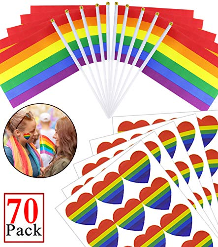 Deloky 70 Packs Gay Pride Rainbow Stick Flag Set -50 Packs Small Rainbow Banner Flag and 20 Packs Rainbow Stickers for LGBT,Mardi Gras, Gay Pride, Rainbow Party Supplies and Decorations]()