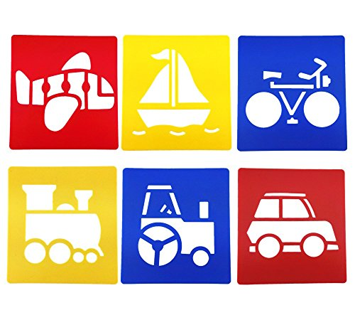 - yueton Pack of 6 Assorted Color Traffic System Vehicle Drawing Painting Stencils Templates for Kid Craft, School Project