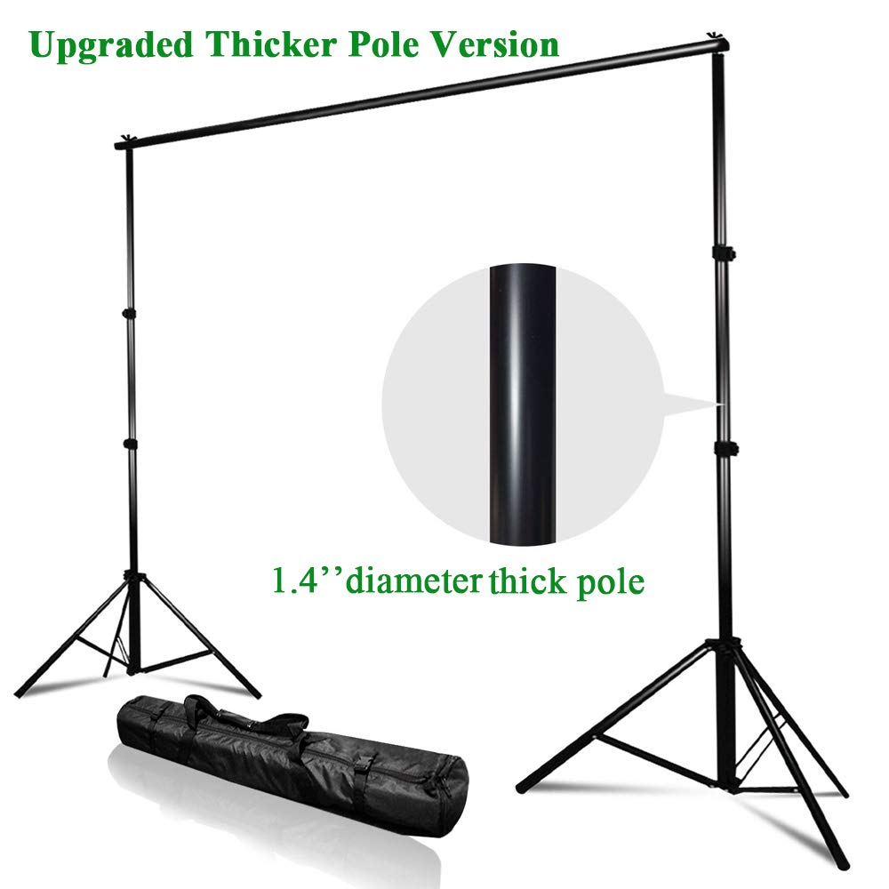 Kshioe Upgraded Background Stand,8.5ft-10ft Adjustable Heavy Duty Backdrop Support System Kit with Carry Bag for Photography Photo Video Studio, Photography Studio by Kshioe (Image #1)