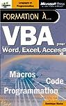 Formation a vba - manuel d`auto-apprentissage - francais par Maniez