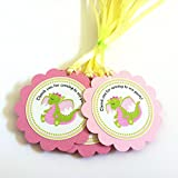 Pink Dragon Favor Tags - Thank You for Coming to My Party Gift Tags - Birthday Favors - Set of 12